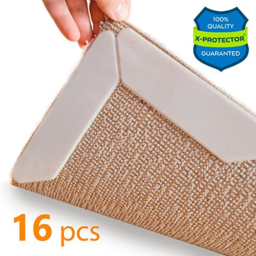Non Slip Corners (Rug Grippers X-PROTECTOR – Best 16 pcs Anti Curling Rug Gripper. Keeps Your Rug in Place & Makes Corners Flat. Premium Carpet Gripper with Renewable Carpet Tape – Ideal Non Slip Rug Pad for Your Rug!)