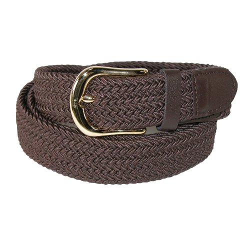 CTM Men's Elastic Stretch Belt with Gold Buckle and Matching Tabs, Large, Brown (Gold Athletic Belt)