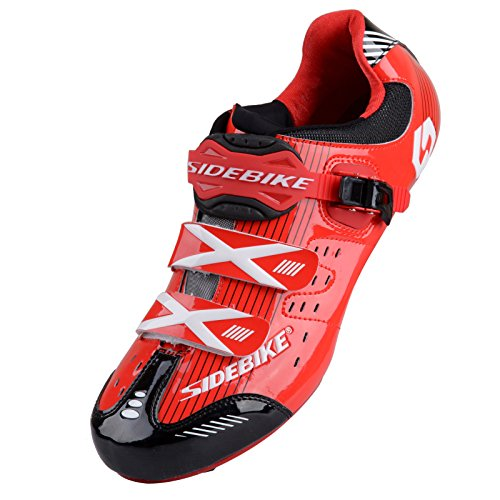 Smartodoors Women's Men's MTB Road Bike Cycling Shoes SD-001 (Red/Black Road, US11/EU44)