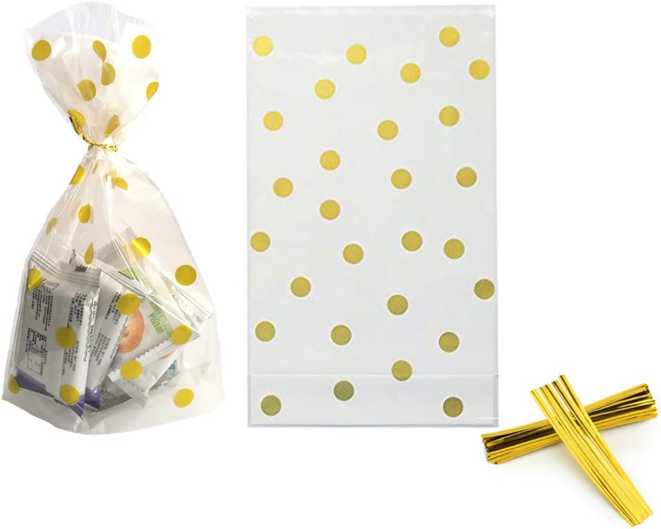 Pack of 50 Gold Stripe AimtoHome Clear Cello Bags 6 x 10 x 2.5inch Clear Plastic Treat Bags for Cookie Candy Snack Wrapping Party Favor