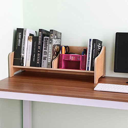 Double Wooden Bookcase (Wooden Tabletop Book Holder Shelftop Bookcase With Fixed Book Stop Angled Base)