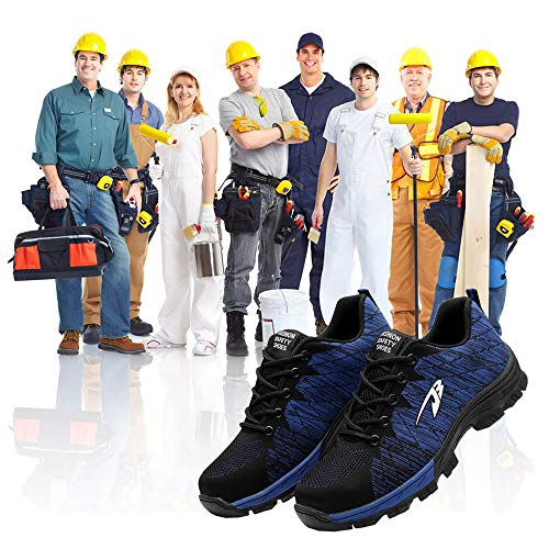 Men's Work Safety Shoes S3 Steel Toe Puncture Proof, Lightweight Non-Slip Industrial & Construction Outdoor Casual Breathable Womens Protection Footwear Blue 35
