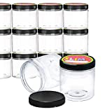 Empty Slime Storage Containers - 12 Pack - Made in USA - 12 oz. Clear Slime Jars with Lids and Labels - BPA Free Material