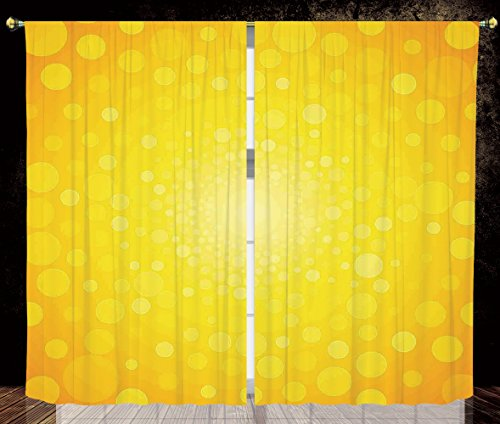 2 Panel Set Thermal Insulated Blackout Window Curtain,Yellow Vibrant Burst Circles and Dots Abstract Warm Solar Polka Sunrise Artful Print Orange Yellow,for Bedroom Living Room Dorm Kitchen Cafe by iPrint