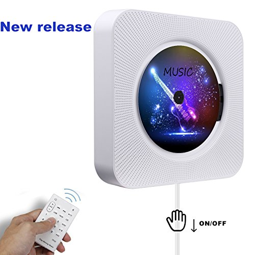 CD Player,Wall Mountable Bluetooth Home Audio Speaker Retro pull switch with Remote HiFi Speakers USB Drive Player and Aux In & Headphone Jack (white)