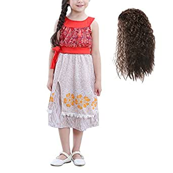 Mooler Girls Princess Party Costume Adventure Dress Outfit , Wig , 4 Years