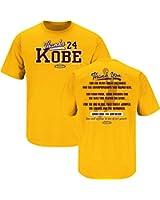 Los Angeles Lakers Fans. Thanks Kobe. Kobe Bryant Tribute Gold T Shirt (Sm-5X)