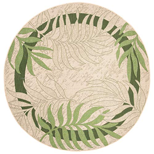Safavieh Courtyard Collection CY7836-14A5 Cream and Green Indoor/ Outdoor Round Area Rug (6'7