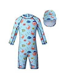 vivobiniya Baby Boy Swimsuits Kid One-Piece Swimsuits with Sun Hats UPF50+UV