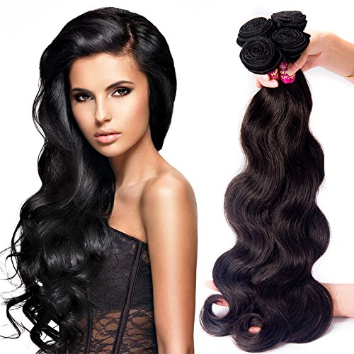 Zorssar Hair 10A Unprocessed Virgin Brazilian Hair Body Wave Weave 4 bundles 100% Remy Human Hair Extensions Natural Color 100g/pc Can be Dyed and Bleached