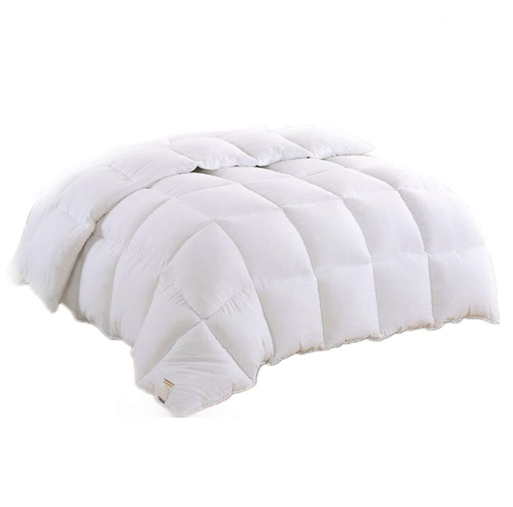 DJBNQ Winterdecke Luxus-Steppdecke aus Gänsefedern und Gänsedaunen, Hülle aus 100% Baumwolle, milben- und daunendichter Stoff, weiß,220x240cm