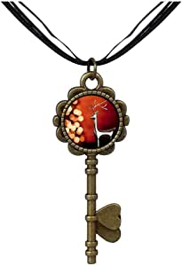 Chicforest Bronze Retro Style Happy Christmas Reindeer Key to Her Heart Pendant