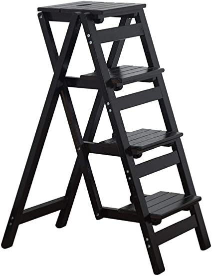 Estructura de escalera de madera, 2 etapas, 3 pasos, 4 etapas, plegable, taburete de baño, balcón, soporte de almacenamiento de madera maciza, jardinera estable, color a 42*67*92cm: Amazon.es: Oficina y papelería