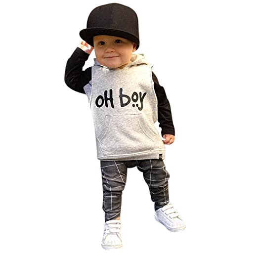 ce16a0db8 Amazon.com  Toddler Kids Baby Boys  oH boy  Hoodie Tops Plaid Pants ...