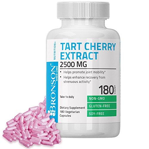 Bronson Tart Cherry Extract 2500 mg Premium Non-GMO Gluten Free Soy Free Formula, 180 Vegetarian Capsules (Tart Cherries Red)