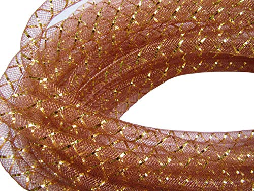YYCRAFT One Roll 30 Yards Mesh Tube for Craft Deco Flex for Wreaths Cyberlox CRIN Crafts 8mm 3/8-Inch(Coffee/Gold) (Gold Tubing)