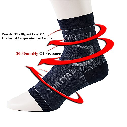Thirty 48 Plantar Fasciitis Socks, 20-30 mmHg Foot Compression Sleeves for Ankle/Heel Support, Increase Blood Circulation, Relieve Arch Pain, Reduce Foot Swelling (Black & Pink (2 Pairs), X-Large) by Thirty 48 (Image #2)
