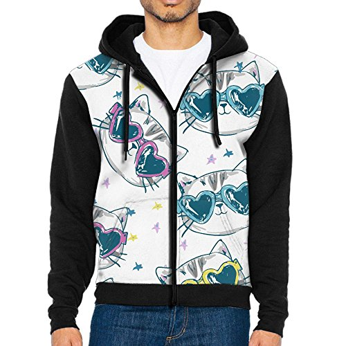 NavyLife Men's Cat In Sunglasses Athletic Pocket Hoodie Jackets Full Zip Long Sleeve Cozy Sweatshirt Midweight - Future Odd Sunglasses