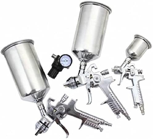 4pc HVLP Gravity Feed Paint Spray Gun Kit with regulator gauge auto paint kit