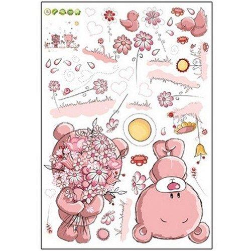 TOOGOOPink Cartoon Cat Rabbit Flower Wall Sticker For Baby G
