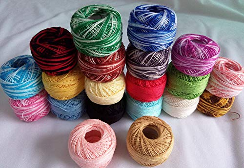 Zamtac 10 Rolls veriegated Colors + 10 Rolls Pain Colors 9s/2 100% Cotton Stitch Embroidery Thread Crochet Thread Hand Cross Thread by Zamtac (Image #1)
