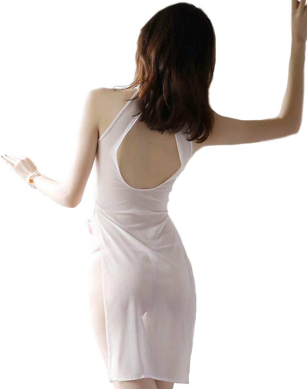Kadila Womens Babydoll Cosplay Uniform Cheongsam Dessous Halfter r/ückenfreie Nachthemd Nachtw/äsche Floral Kleid