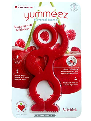 Yummeez Flavored Teether by Lil' Sidekick - Unique Shape Soothes Front, Back, and Side Teeth - Amazing Taste Babies Love (Cherry-Berry)