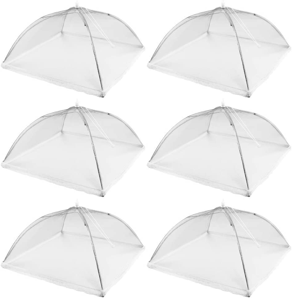 6 Pack Pop-Up Mesh Food Cover Tents, 17-inch Reusable and Collapsible Picnic Food Net Cover Umbrella for Outdoor Party BBQ, Keep Food from Flies, Mosquitoes and Bugs