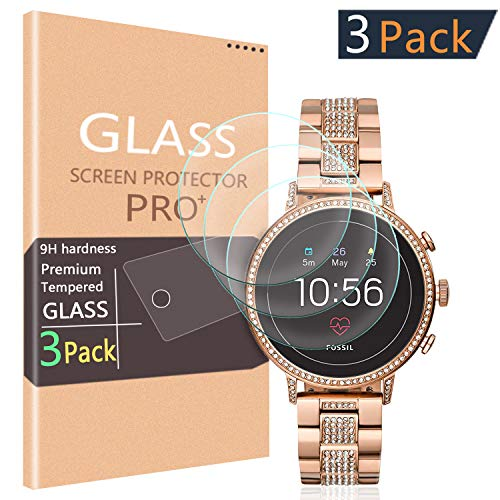 (3-Pack PAZLOG Compatible for Fossil Women's Gen 4 Q Venture HR Smartwatch Tempered Glass Screen Protector with 2.5D Arc Edges 9H Hardness HD Anti-Scratch Bubble-Free Anti-Fingerprint Anti-Glare)
