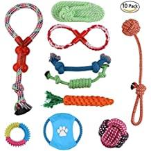 Dog Toys Set, 10 Pack Pet Rope Toy Interactive Game Puppy Frisbee Cotton Ball Rope and Chew Toys Clean Teeth for Medium to Small Dogs