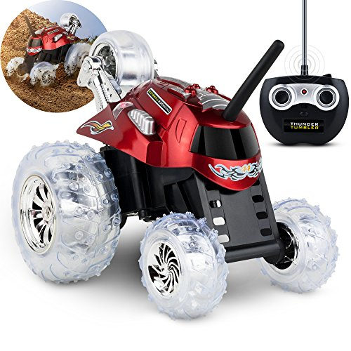 Black Series 27MHz Children's Remote Control Spinning 360° Rotating Car Toy for Boys/Girls, Stunt RC Race Truck, for Two-Vehicle Fun, Combine with Black, Incompatible with Blue- RED ()