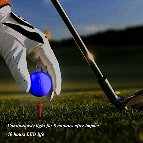 Glow Golf Balls, ZLIXING Led Golf Balls Novelty Golf Ball Funny Golf Ball Colored Golf Balls, Light up Golf Balls Professional Practice Golf Balls Glow in Dark for Night Sports (3 Pices) by ZLIXING (Image #3)