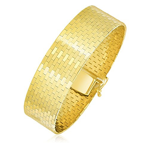 (Jewels By Lux 14K Yellow Gold Thick Omega Motif Brick Style Bracelet)