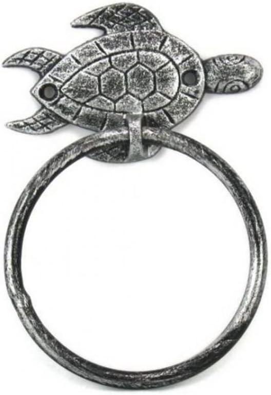 "Hampton Nautical Silver Antique Towel Holder 7""-Sea Turtle Beach Decor-Cast Iron"