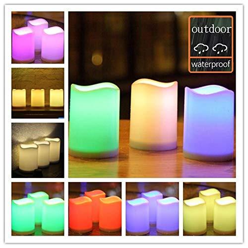 (Outdoor Flameless Pillar Candles Decorative ,3 x 4