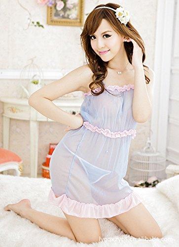 ZHFC-Damas Lenceria Camison largo borde azul Elegante camison vestido gusto gusto tentación F