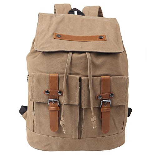 "Freeprint Vintage Canvas Laptop Backpack Travel Rucksack School Bag in Medium Size fits 15.6"" Computers for Men and Women, Khaki"