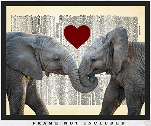 Elephants In Love Dictionary Wall Art Print: (8x10) Unframed Poster Print - Great Gift Idea For a Significant Other or That Special Person in Your Life! ()