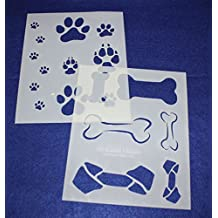 "Dog Bone/Paw Print 2 Piece Stencil Set 14 Mil 8"" X 10"" Painting /Crafts/ Templates by TCR Templates"