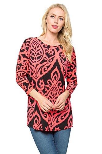 Baby Doll Scoop Neck - Junky Closet Women's 3/4 Dolman Sleeve Scoop Neck Tunic Top (Medium, L1438DM Neon Pink Black)