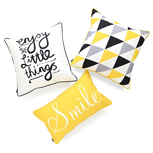 (Hofdeco Indoor Outdoor Pillow Cover ONLY, Water Resistant for Patio Lounge Sofa, Yellow Black Triangle Smile Enjoy, 18