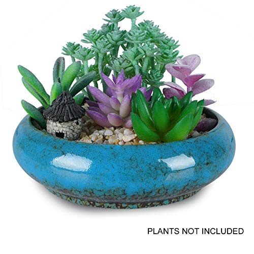 7.3 inch Round Succulent Pots Planter with Drainage Hole Flower Holder Bonsai Pots Garden Decorative Cactus Planter Stand Ceramic Glazed Container (Blue)