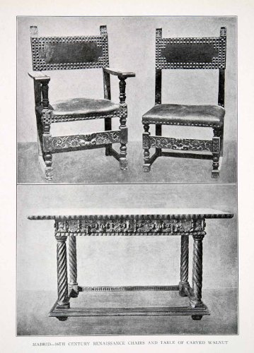 1925 Print Chairs Table Carved Walnut Wood Madrid Spain Renaissance Decorative - Original Halftone (Madrid Walnut)