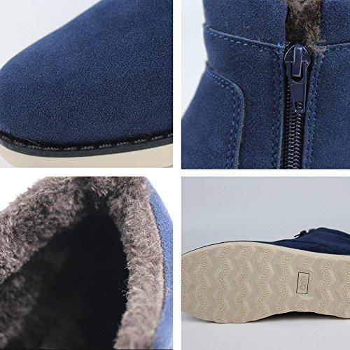 Femme Plates Bleu Neige Noir Fermeture Fexkean De 36 Cheville 46 Boots Automne Suédé Marron Homme Hiver Eclair Bottes Chaudes qwZXxY5C