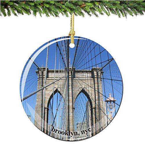 (City-Souvenirs Brooklyn Bridge Christmas Ornament, Porcelain 2.75