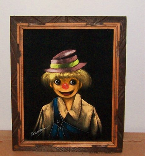 1960s Black Velvet Painting Circus Clown Picture In Original Wood Frame and Signed by Artist Vintage Collectible
