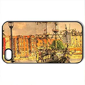 Gdansk - sailing on the Motlawa - Case Cover for iPhone 4 and 4s (Watercolor style, Black)