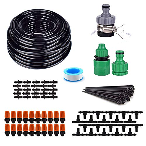 Flantor Garden Irrigation System, Automatic Drip Kit with 50FT Distribution Tubing Hose 20pcs Mist Nozzle for Garden, Lawn, Flower Bed and etc. ()