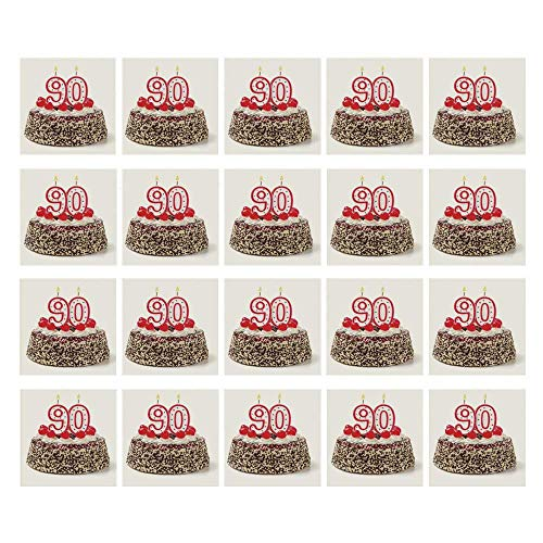 C COABALLA 90th Birthday Decorations 3D Ceramic Tile Stickers 20 Pieces,Birthday Cake with Cherries Burning Candles Number Ninety for Home,3.9