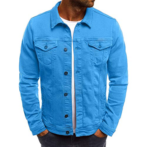 Realdo Mens Denim Jacket, Clearance Sale Men's Solid Color Vintage Button Tops Coat with Pocket(Medium,Blue)]()